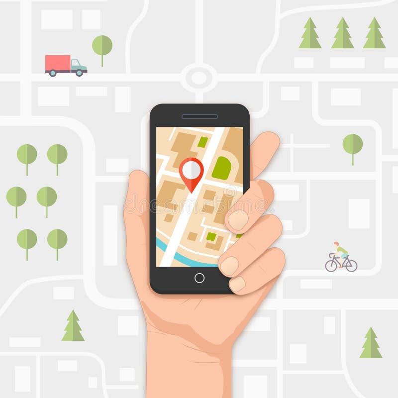 Mobil navigering vektor illustrationer