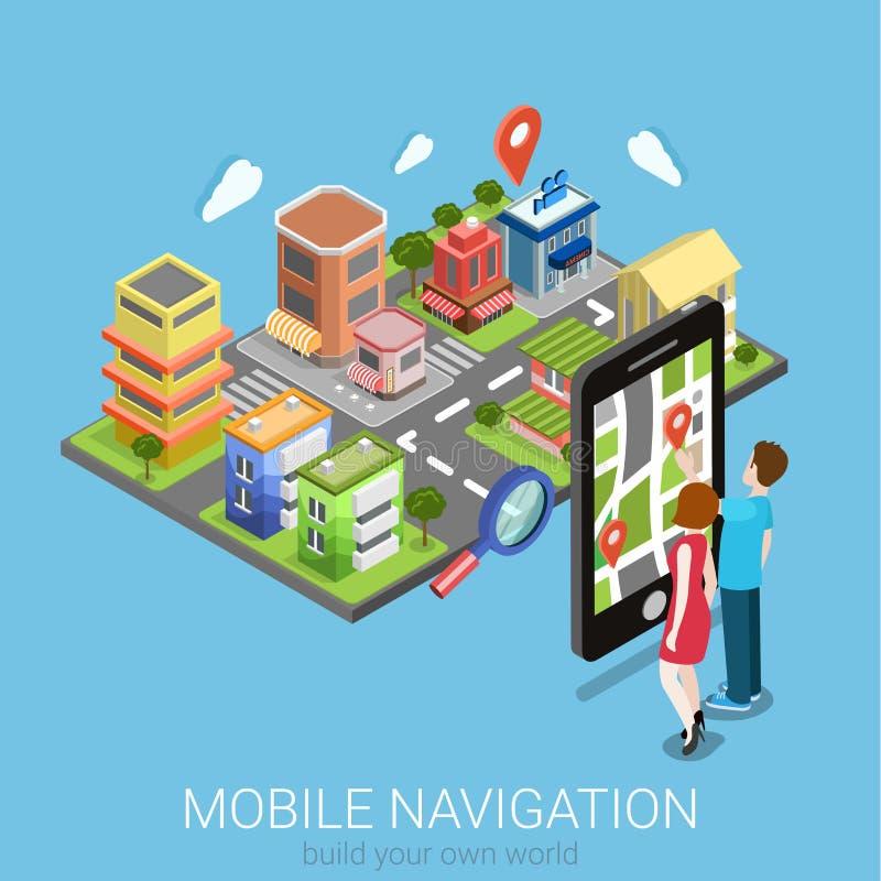Mobil navigering för plan isometrisk vektor: Smartphone för GPS översiktsstad royaltyfri illustrationer