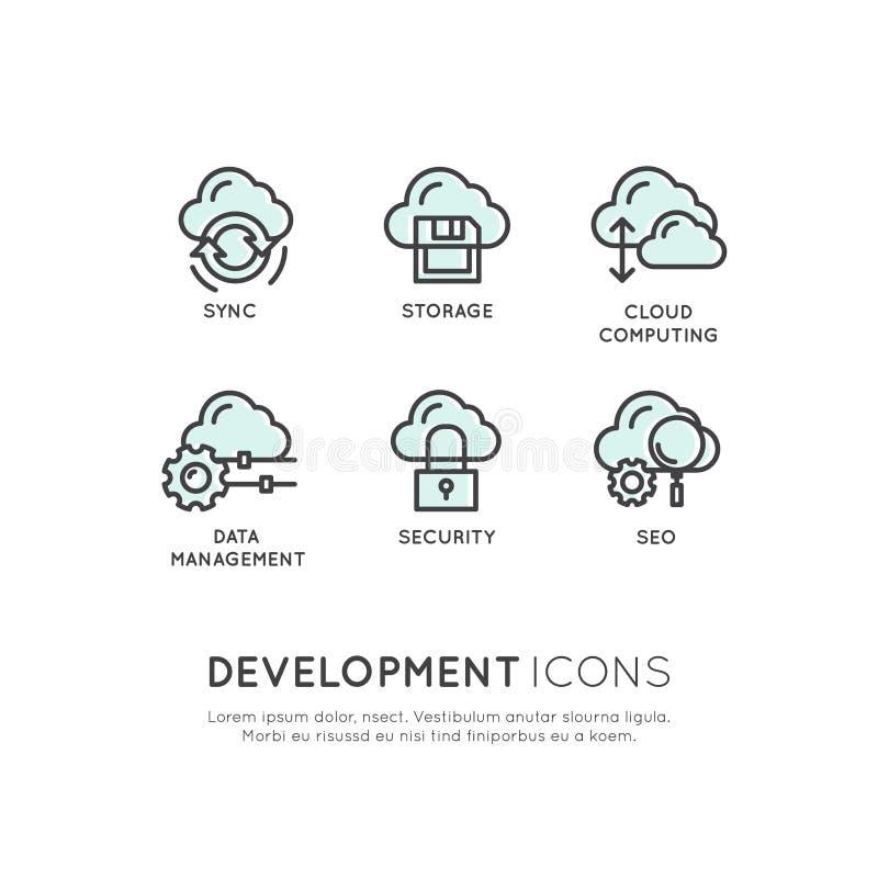 Mobil och App-utvecklingshjälpmedel och processar, molnsäkerhet som är värd, Seo, synkronisering, lagring royaltyfri illustrationer