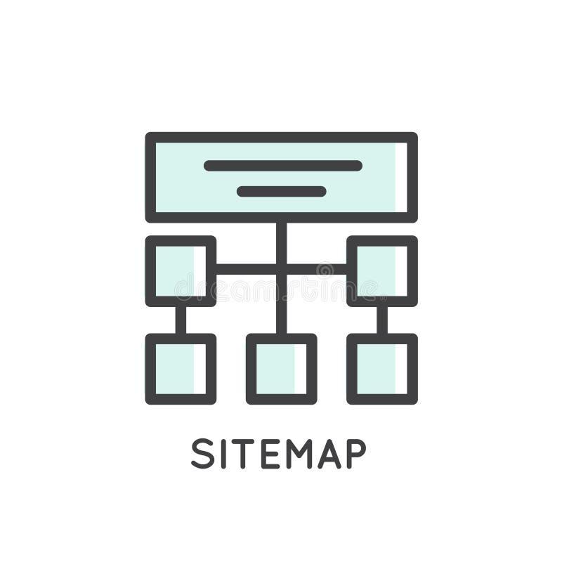 Mobil och App-utvecklingshjälpmedel och processar, Sitemap som är värd, struktur royaltyfri illustrationer