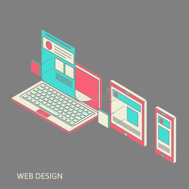 Mobil och skrivbords- websitedesignutveckling vektor illustrationer