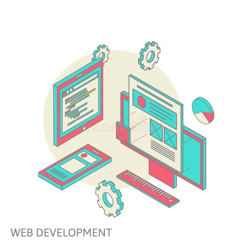 Mobil och skrivbords- websitedesignutveckling royaltyfri illustrationer