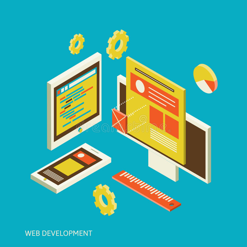Mobil och skrivbords- websitedesignutvecklingsprocess vektor illustrationer
