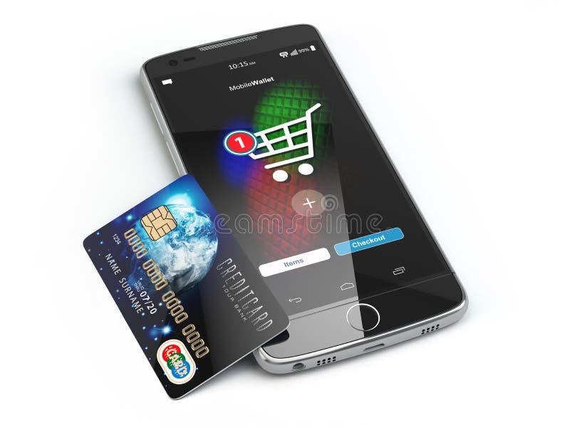 Mobil online-shopping E-kommers med smart telefon och kreditering c vektor illustrationer