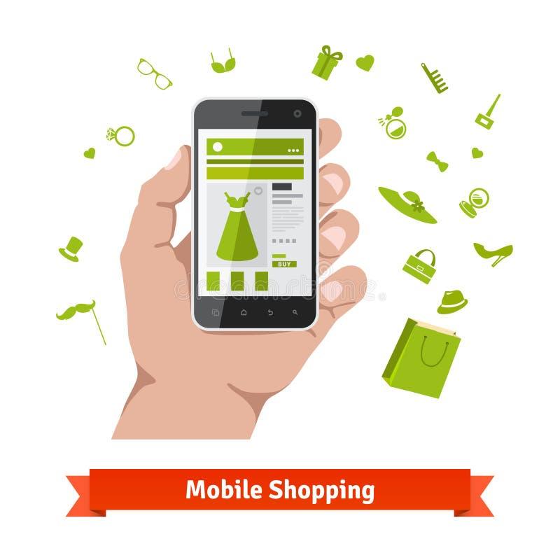 Mobil online-shopping för kvinna vektor illustrationer