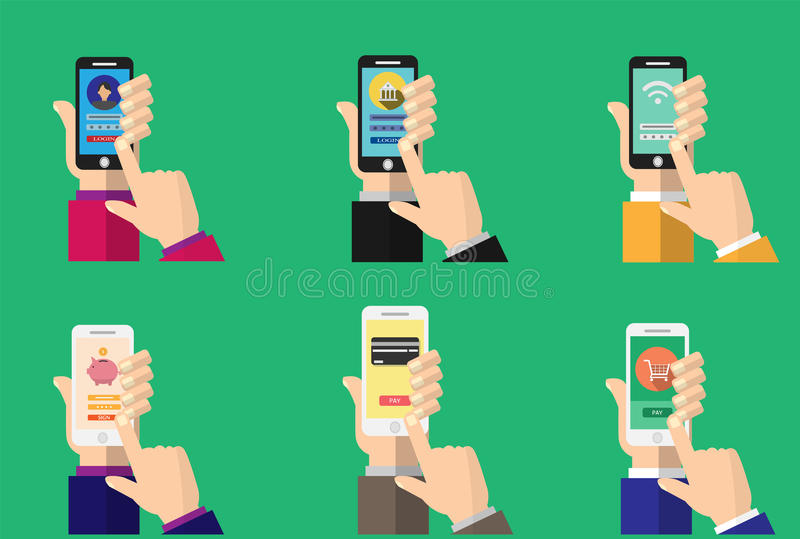 Mobil packa ihop app på smartphoneskärmen vektor illustrationer