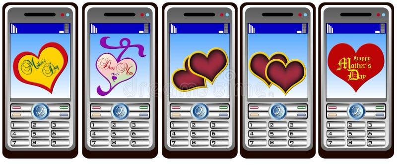 Mobil phone hearts stock photos