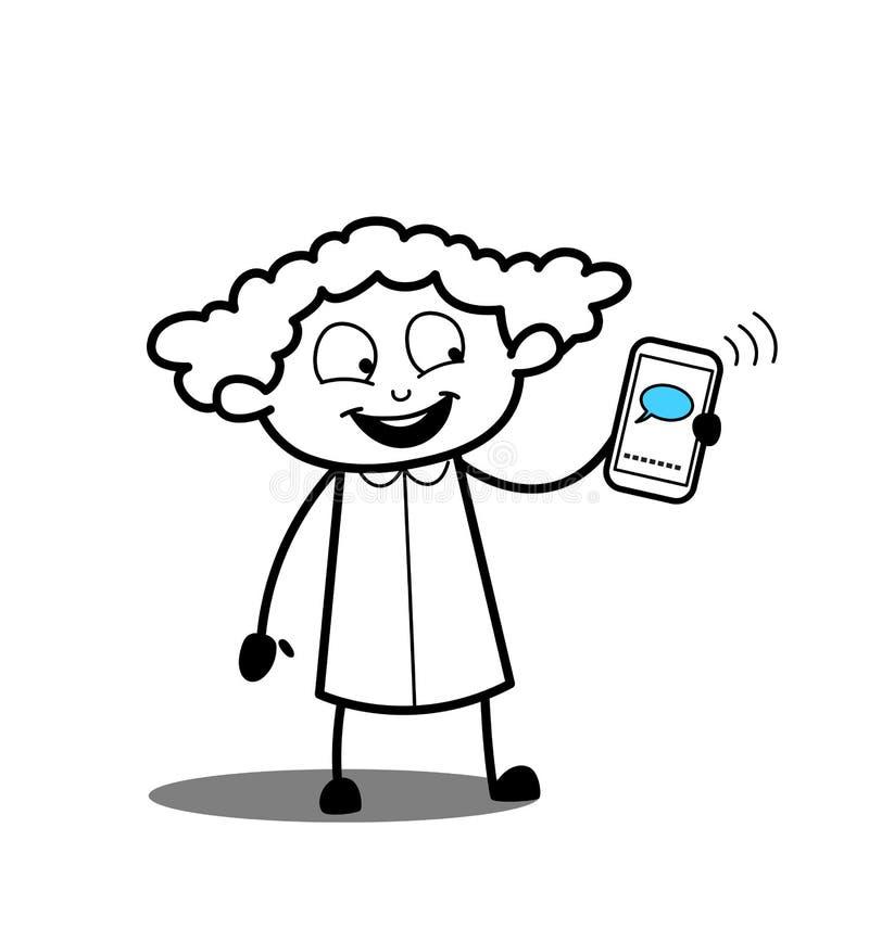 Mobil pratstund för lycklig tecknad filmflickavisning stock illustrationer