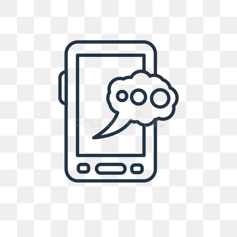 Mobil pratstundvektorsymbol som isoleras på genomskinlig bakgrund, linje stock illustrationer