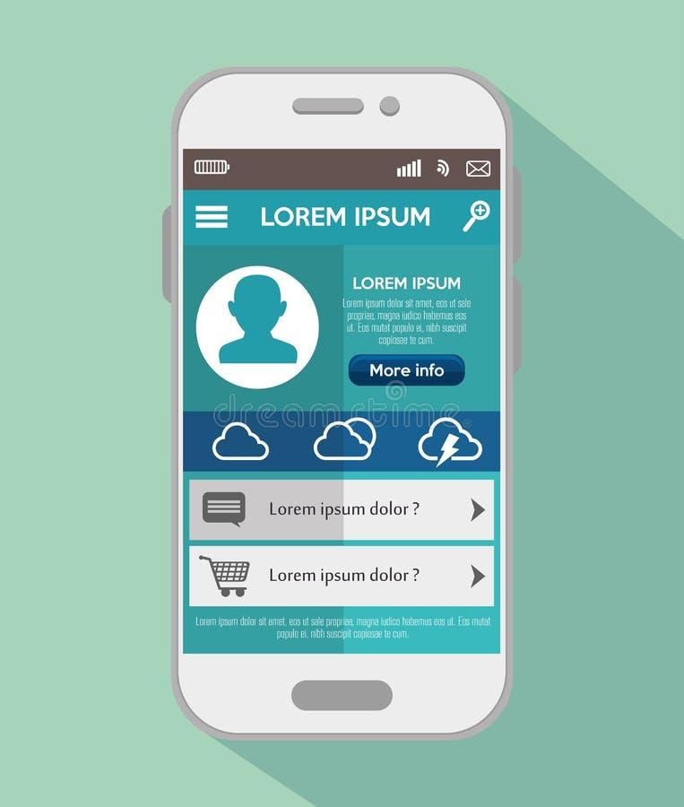 mobil prognos för designapp-väder royaltyfri illustrationer
