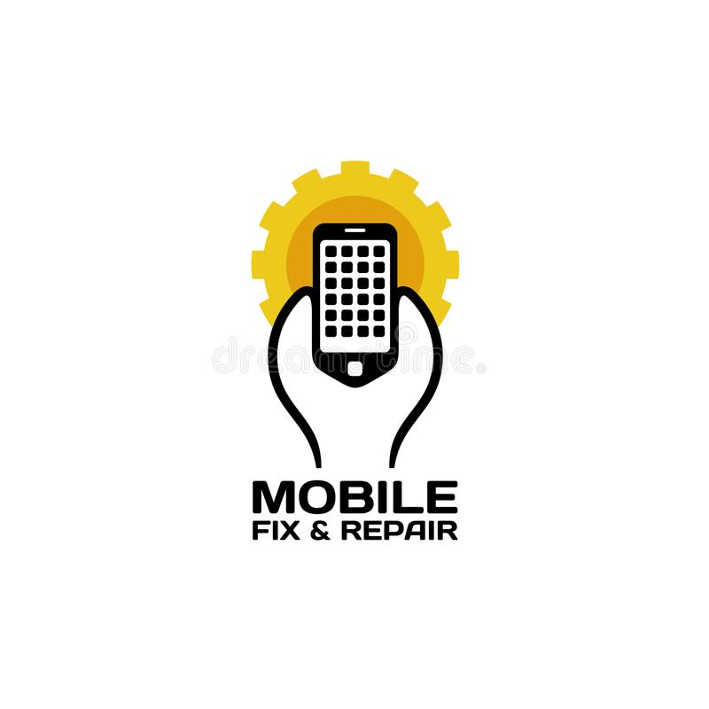 Mobil reparationslogo stock illustrationer