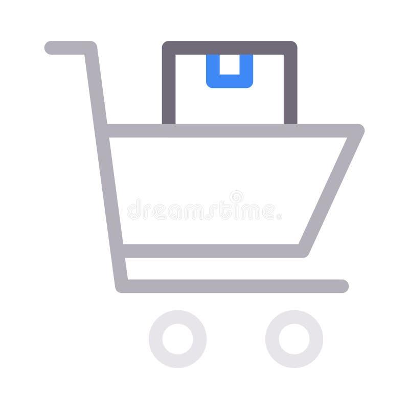 Mobil shoppa tunn färglinje vektorsymbol royaltyfri illustrationer
