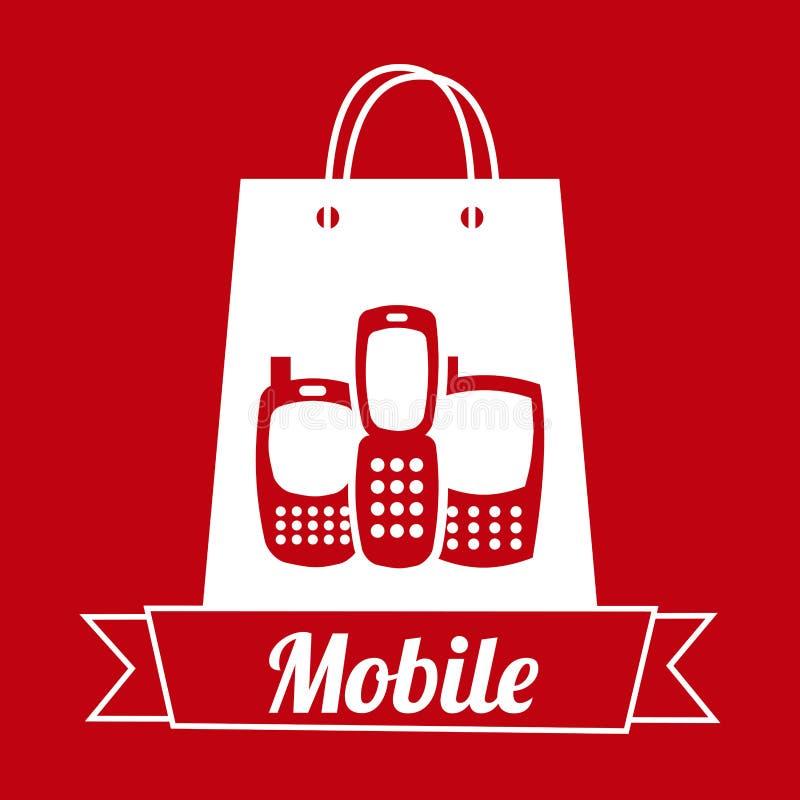Mobil shopping vektor illustrationer