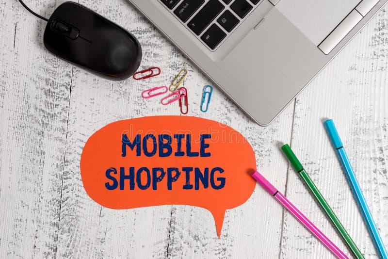 Mobil shopping f?r textteckenvisning Begreppsmässig fotoköpande och sälja av varor och tjänst till och med mobilt metalliskt fotografering för bildbyråer