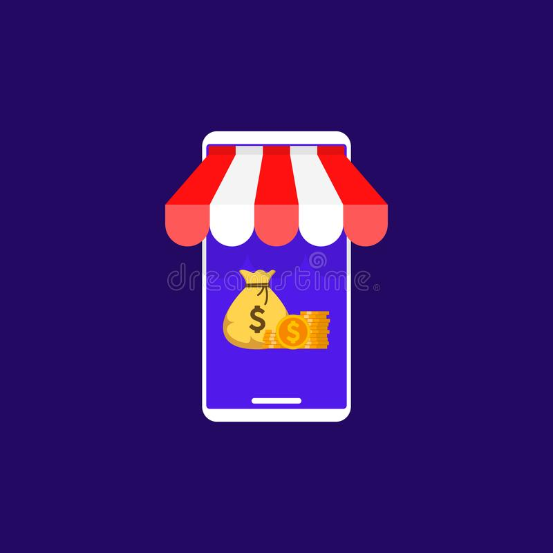 Mobil shopping, M-kommers, vektoravståndshandel och online-lagerbegrepp stock illustrationer