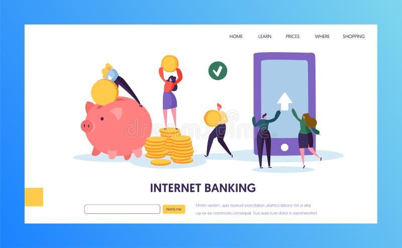 Mobil sida för landning för överföring för internetbankrörelsebetalning Online-Cashback service för bankplånbok i den Smartphone  royaltyfri illustrationer