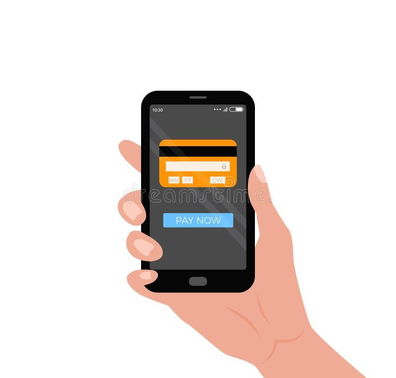 Mobil smartphone för innehav för betalningbegreppshand med kreditkorten och knapp på skärmen stock illustrationer
