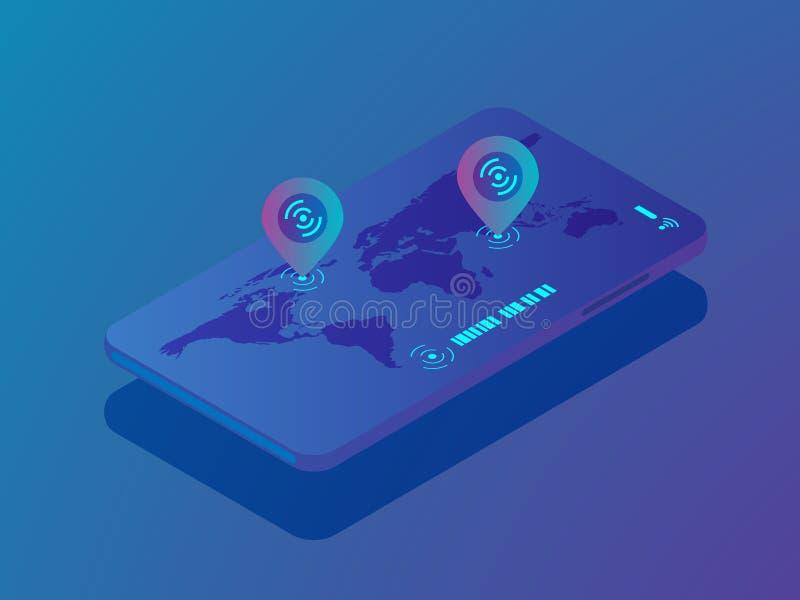 Mobil smartphone med lägeapplikation vektor illustrationer