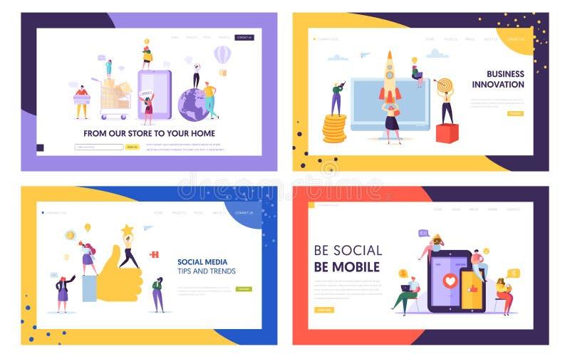 Mobil spets- och för trendlandningsida uppsättning för socialt massmedia Innovation för nätverksDigital affär Snabb hemsändning f stock illustrationer