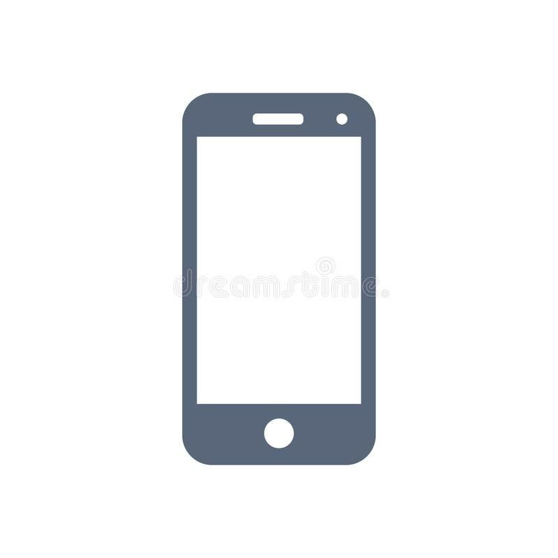 Mobil symbol som isoleras på vit bakgrund vektor royaltyfri illustrationer