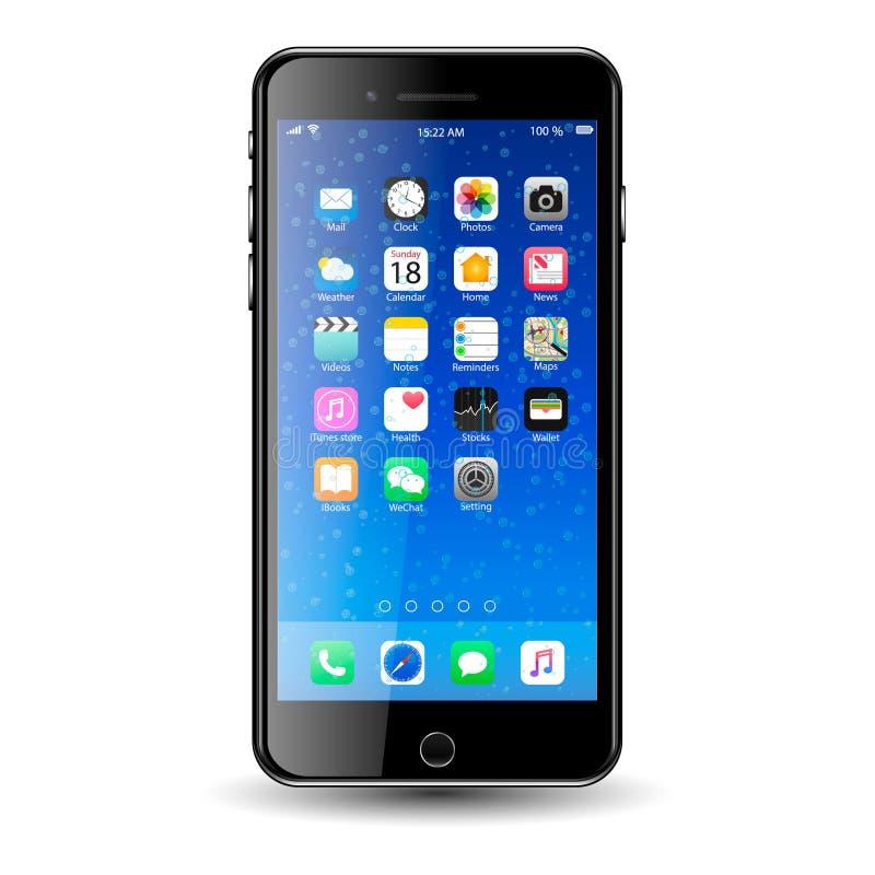 Mobil téléphonent avec des icônes nBubbles images libres de droits