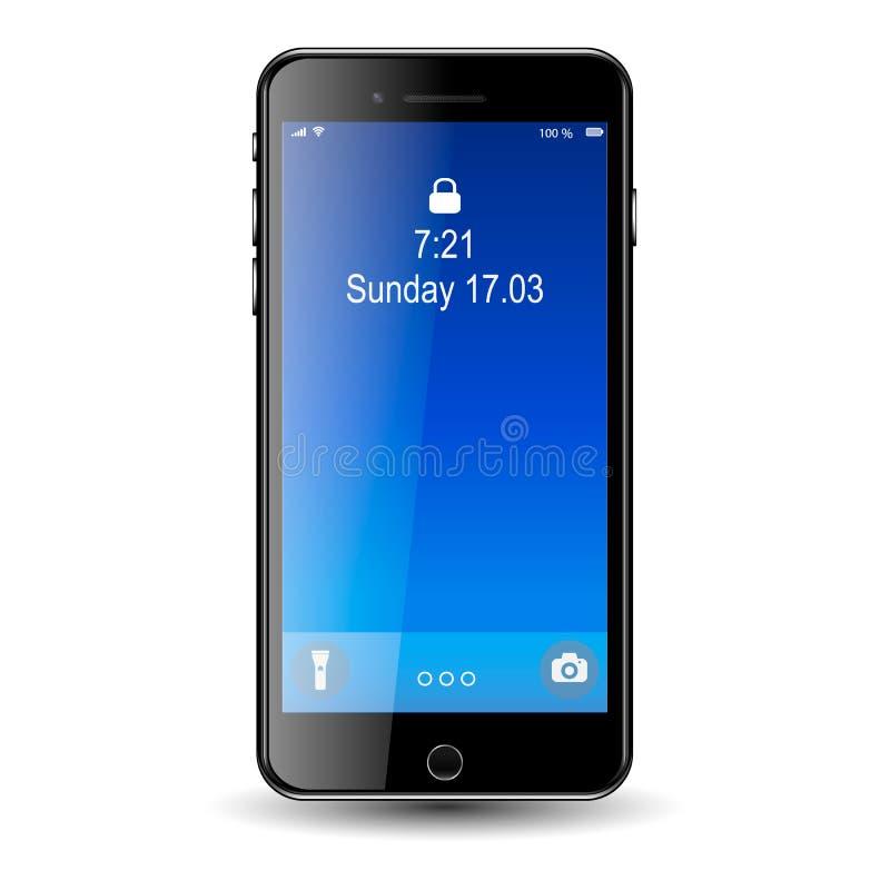 Mobil téléphonent avec l'écran bleu EPS10 photographie stock libre de droits