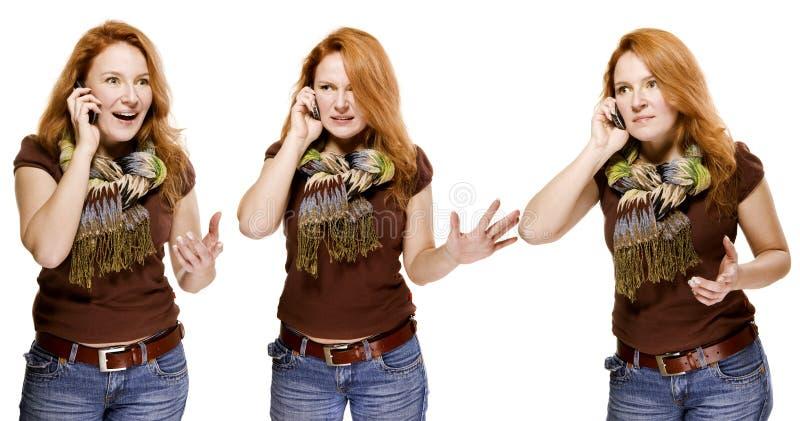 mobil talande kvinna för vuxen människa känslomässigt arkivbild