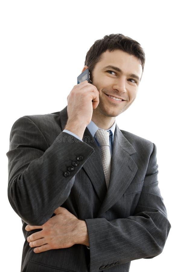 mobil telefon för affärsman som taling royaltyfria foton