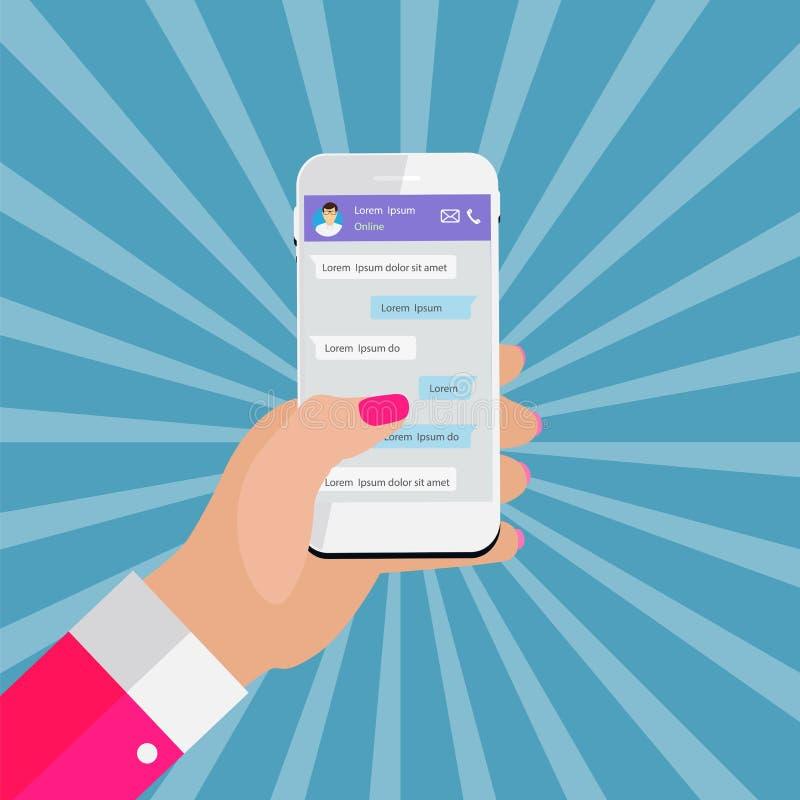Mobil telefon för innehav för Apps begreppshand begreppet frambragte digitalt högt samkväm för bildnätverksres royaltyfri illustrationer
