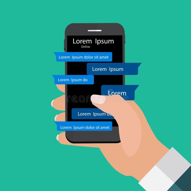 Mobil telefon för innehav för Apps begreppshand begreppet frambragte digitalt högt samkväm för bildnätverksres vektor illustrationer