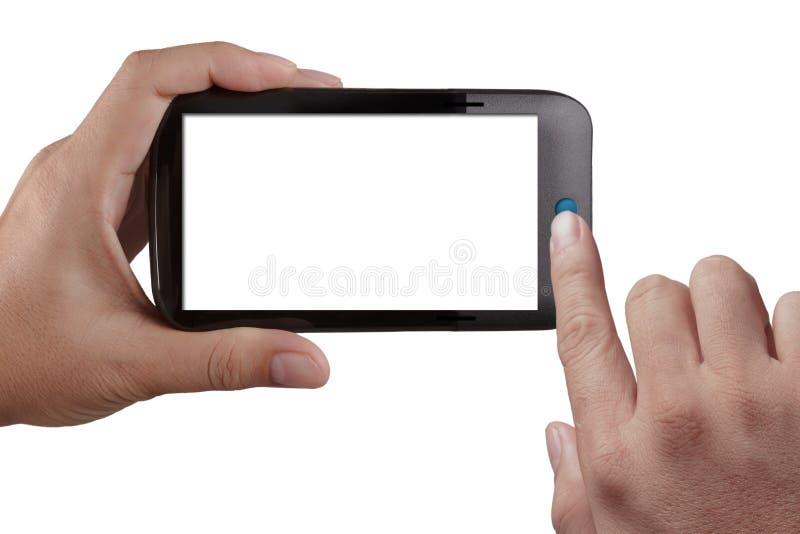 Mobil telefon för Touchskärm, i hand royaltyfria bilder