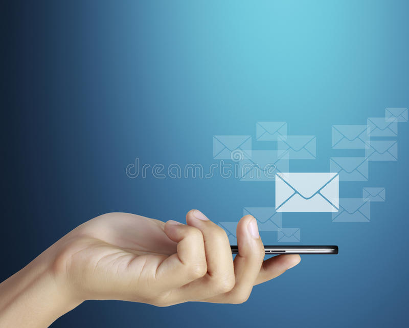 Mobil telefon för Touchskärm, i hand royaltyfri bild