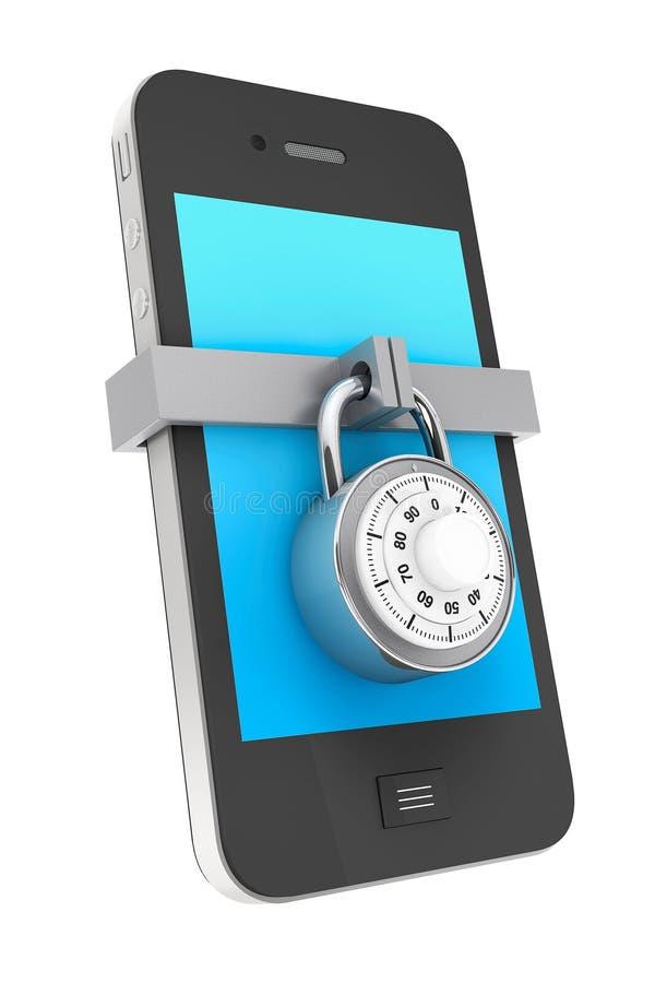 Mobil telefon med låset royaltyfri illustrationer