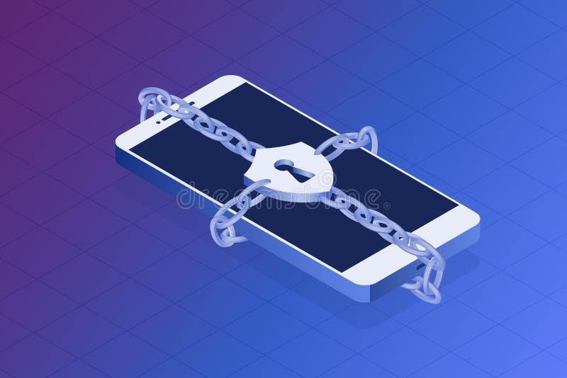 Mobil telefon med låset på en vit bakgrund Skydda din avskildhetsvektorillustration Låst telefon vid kedjan, inloggningsbegrepp stock illustrationer