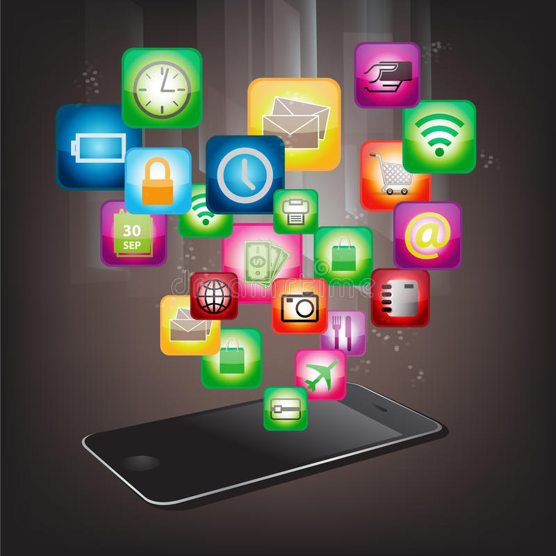 Download Mobil telefon med symboler vektor illustrationer. Illustration av manöverenhet - 27283782