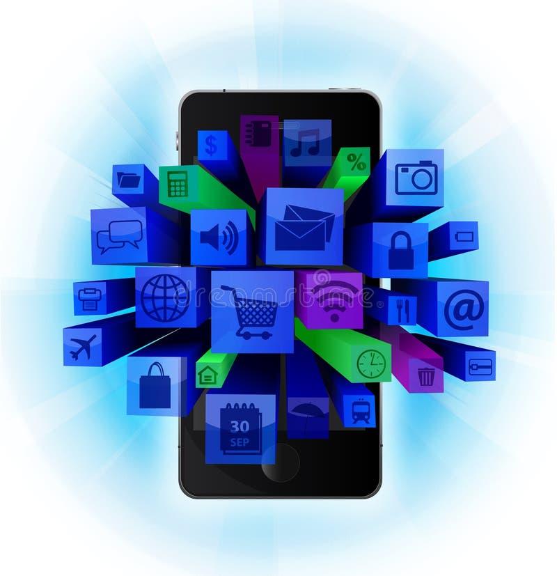 Download Mobil telefon med symboler vektor illustrationer. Illustration av mobiltelefon - 27283800