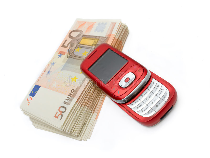 Mobil-Telefon u. Geld stockfoto