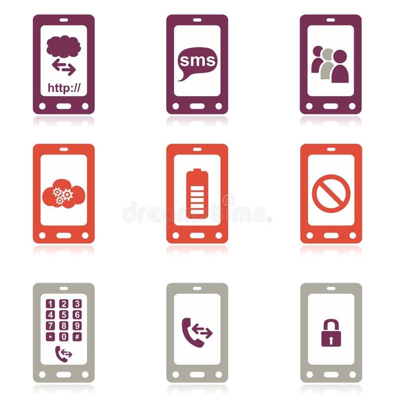 mobil telefonset för symbol royaltyfri illustrationer