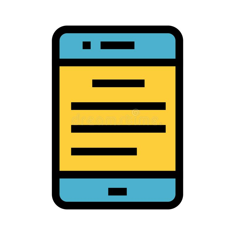 Mobil textfärglinje symbol royaltyfri illustrationer