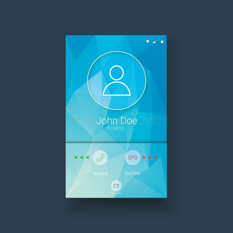 Mobil uimall med att kalla skärmen på blått bottenläge stock illustrationer