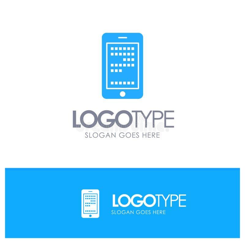 Mobil utbildning, cell som kodifierar den blåa logovektorn royaltyfri illustrationer