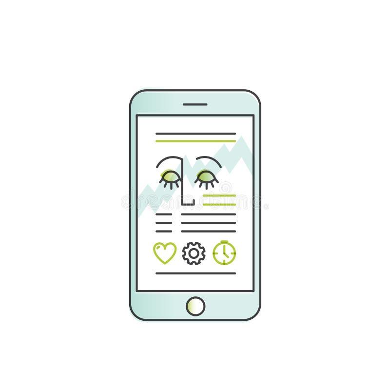 Mobil vård- bogserare App med sömnanalys och data för personlig profil vektor illustrationer