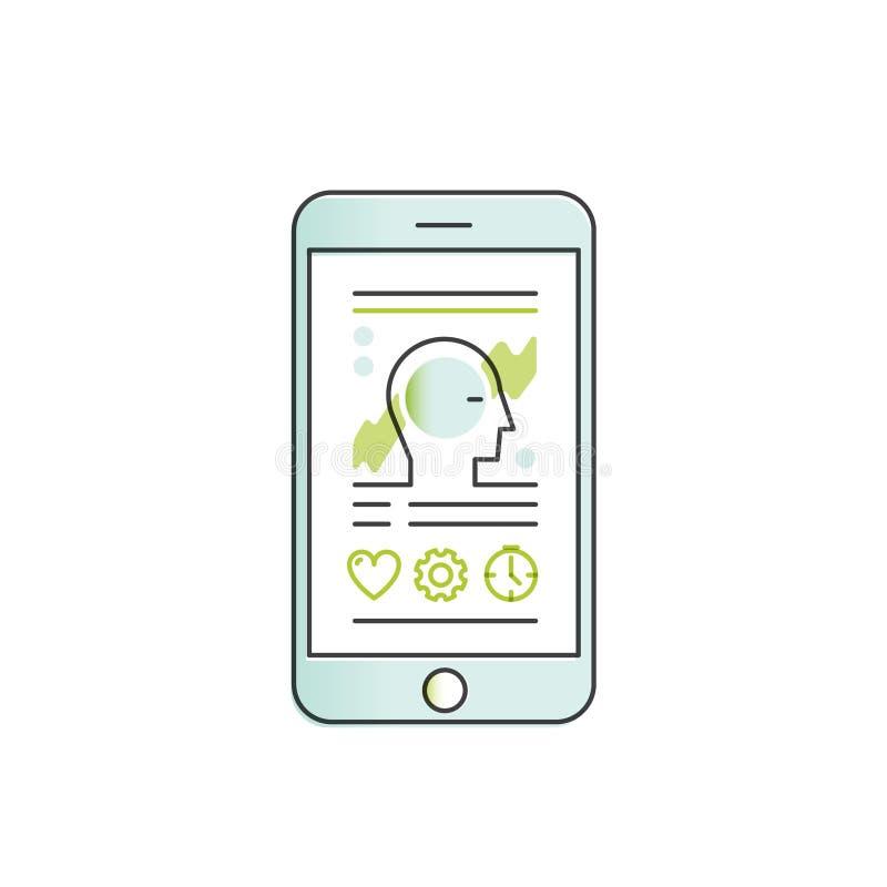 Mobil vård- bogserare App med sömnanalys och data för personlig profil stock illustrationer
