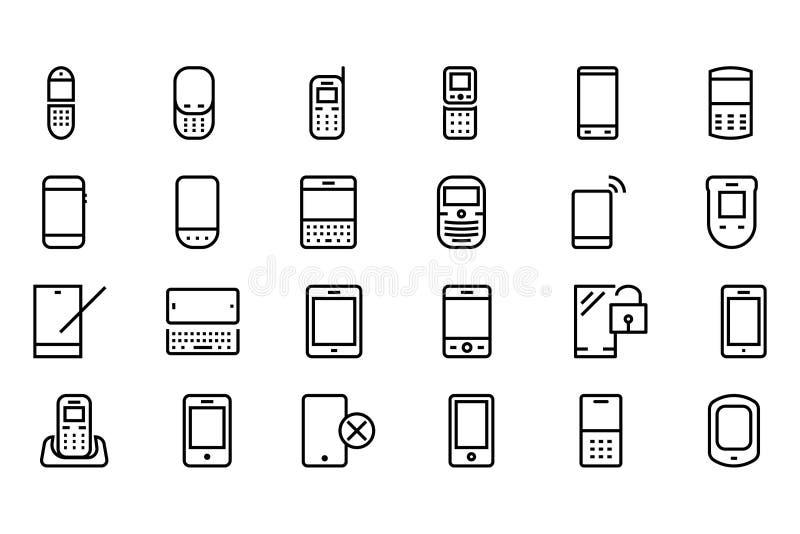 Mobil vektorlinje symboler 1 vektor illustrationer