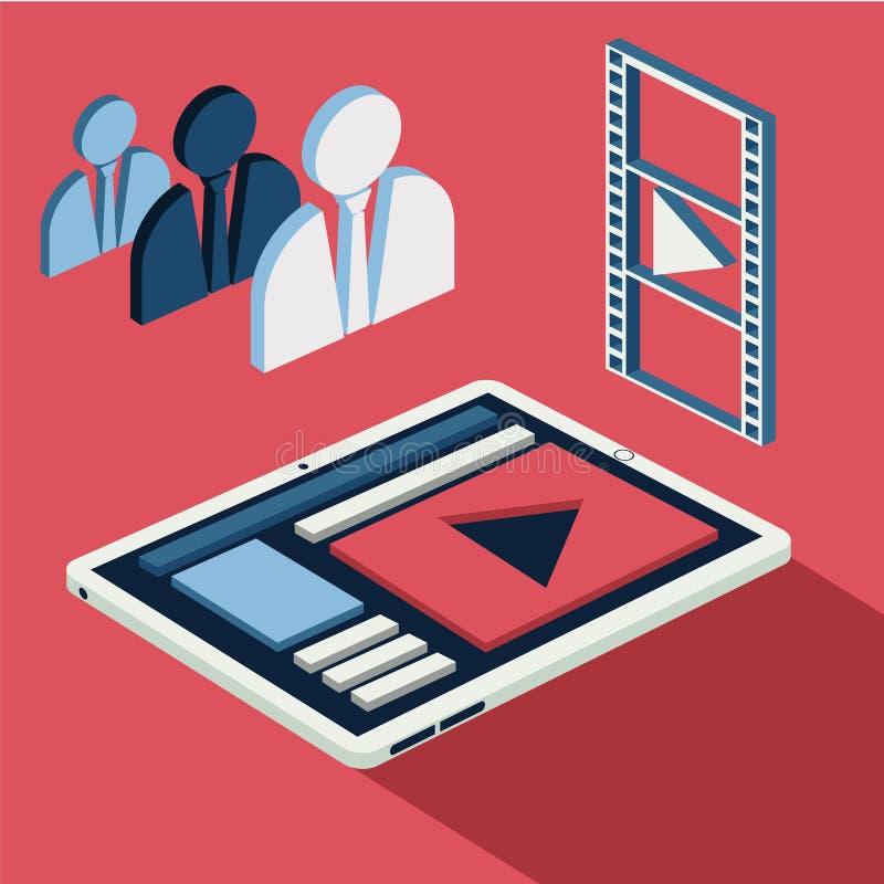 Mobil video appell för man Smartphone med spelaren stock illustrationer