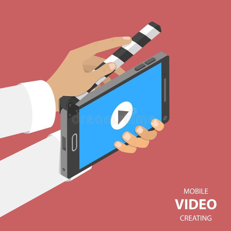 Mobil video som skapar den plana isometriska vektorn stock illustrationer