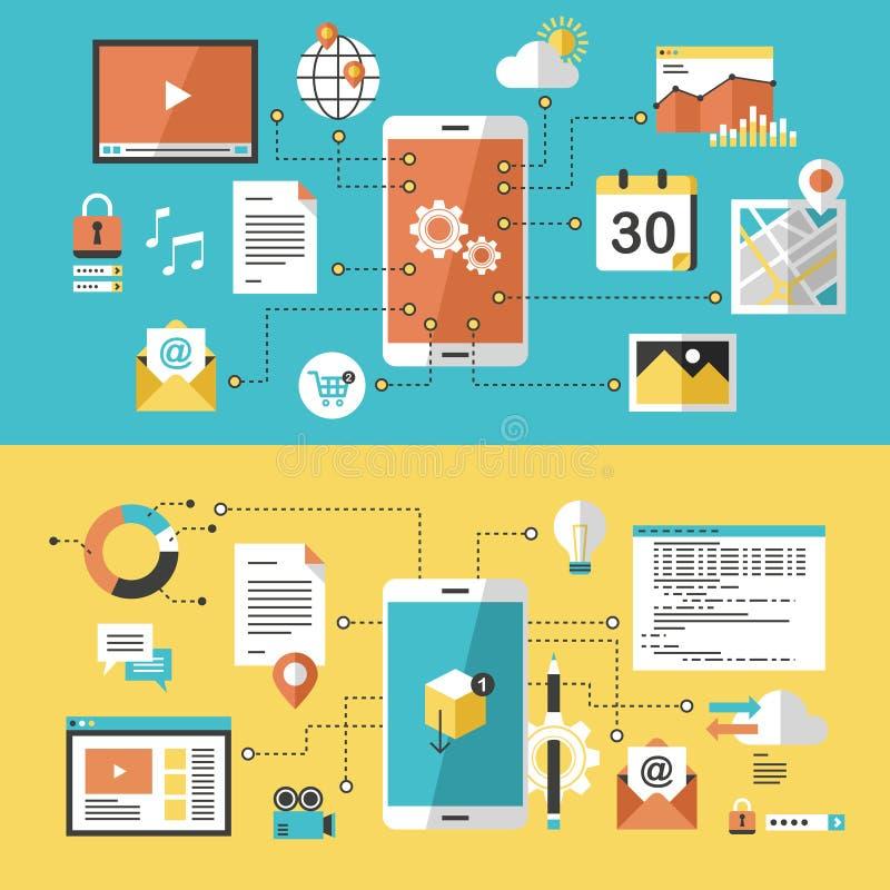 Mobil website och app-design stock illustrationer