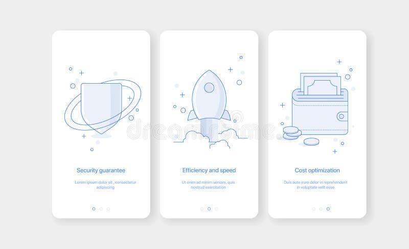 Mobila app-introskärmar För illustrationlägenhet för vektor onboarding design royaltyfri illustrationer