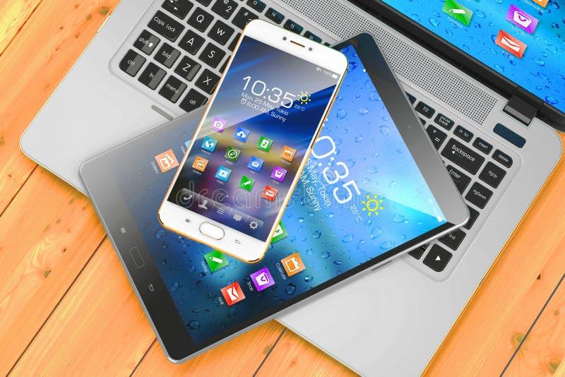 mobila apparater Bärbar dator smartphone, block på trätabellen vektor illustrationer