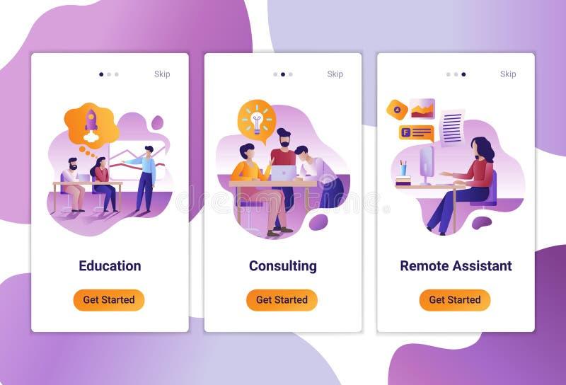 Mobila appmallar av att konsultera, utbildning och det avlägsna jobbet Det plana designbegreppet av sidor planlägger med mobilen royaltyfri illustrationer